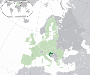 Croatia in the map of Europe
