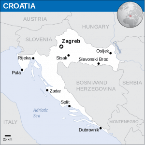 Map of Croatia with biggest cities